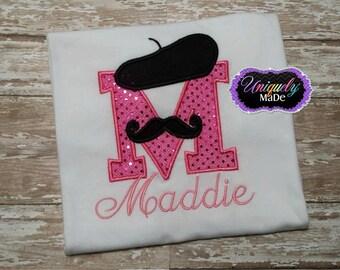 Mustache Initial Applique Shirt, Paris Birthday Shirt, Girly Mustache Shirt, Bonjour Applique Initial Shirt, Mustache Shirt, Bonjour Shirt