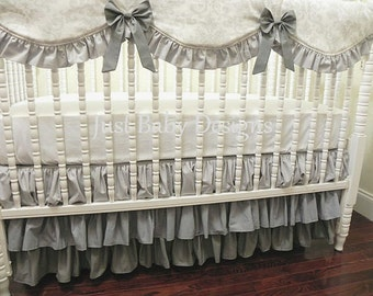Gray Ombre Ruffle Crib Skirt