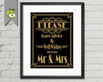 Well Wishes sign, Advice Table Sign, Mr & Mrs, Bride Groom, Art Deco Sign, Instant Download, DIY Printable, 3 SIZES, DIY bride, AD2