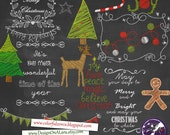 Christmas Chalk clipart, Chalkboard Christmas Clipart, Chalk Digital Clip Art Pack with Holidays Wordart, Christmas clipart overlays