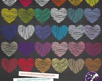 Hearts Chalk Valentine Clipart, Valentine's Day Hearts Clip art, Chalk Doodle Hearts, Love Clipart, valentine's day valentines clipart