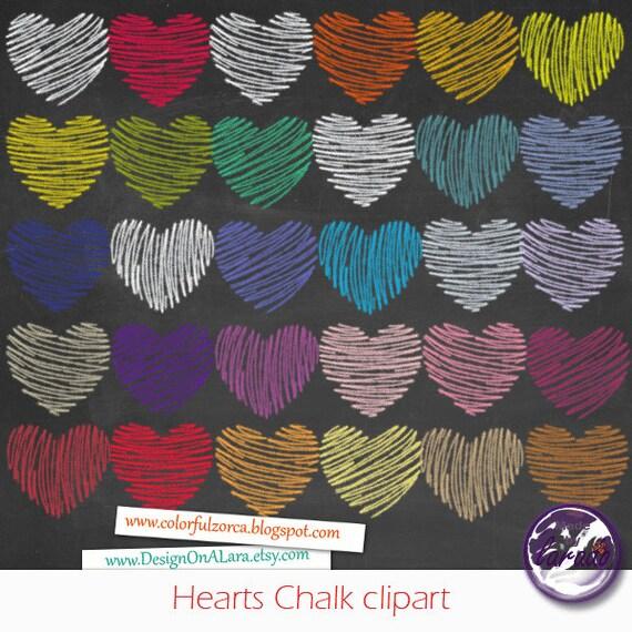 Hearts Chalk Valentine Clipart Valentine's Day Hearts