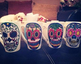 Day Of the Dead - Día de Muertos Sugar Skull Mugs // 14 oz