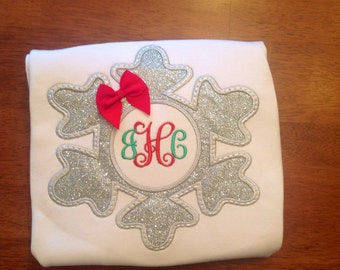 Silver glitter snowflake applique shirt, great for Christmas or all winter long.
