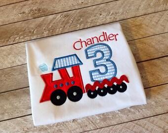 Birthday Train Applique shirt-birthday applique shirt-seersucker train-train birthday number-train shirt
