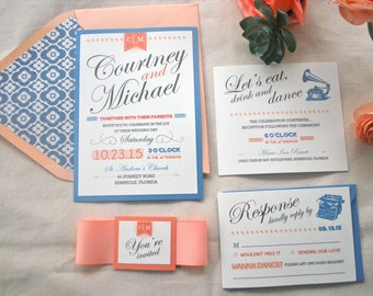 Coral, Peach and Dusty Blue Wedding Invitation (NOT A SAMPLE LISTING)