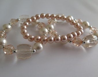 Set 3 Stretchy Beaded Acrylic and Faux Pearl Beads - up-cycling