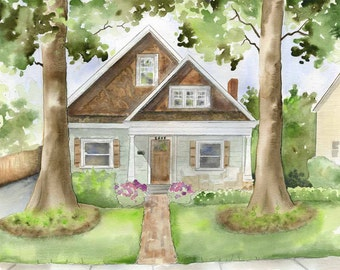 Custom painting of house -  watercolor house portrait - Home watercolor painting