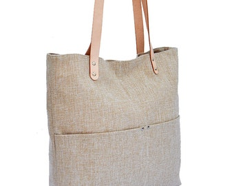 Big Sale----Linen Tote, Beach Bag, Simple Tote Bag for Women, Market tote Bag with Brown Genuine Leather strap