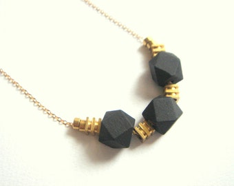 Black  Geometric Necklace,Wood and  Brass  Necklace,Geometric Jewelry