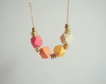 Wood Geometric Necklace,Wood and  Brass  Necklace,Geometric Jewelry