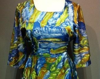 Vintage Blue & Green Mini Dress