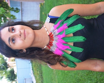 J9- Green and Pink  Feather Necklace