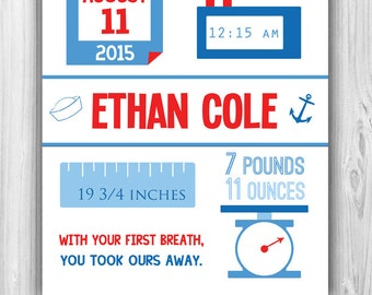 Nautical Baby Boy Birth Stats Print | (DIGITAL FILE)