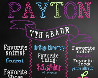 Custom  back to school sign,  Poster Board, Chalk Board, Chalk, Printable Size 16x20 photo prop