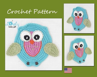 Crochet Owl Applique Pattern, Blue, Pink Owl, Pdf Crochet Pattern, Tutorial, CP-502