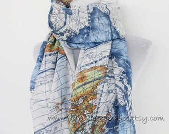 World Map Scarf, Sea Scarf, Fashion Scarf, Handmade Scarf, Christmas Gift, Large Scarf, Mens Scarf, Womens Scarf, For Her, Sarong, For Him
