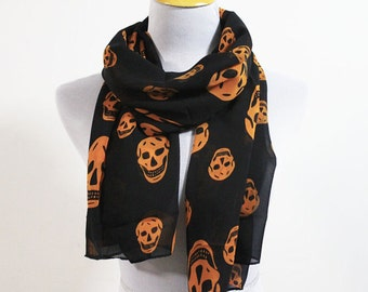 Skull Scarf Halloween Scarf Halloween Skeleton Skulls Scarf Chiffon Scarf Black Scarf White Skull Cute Scarf Halloween Gift Pumpkin Orange