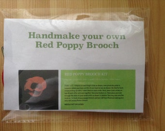 Make your own Red Poppy brooch kit
