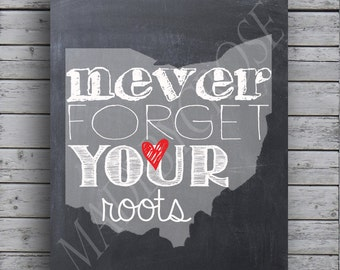 Ohio State - Never forget your roots -Chalkboard -Print