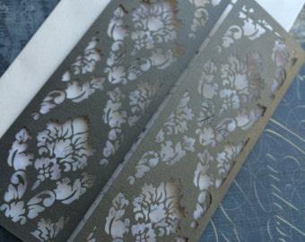 Laser Cut Wedding Invitation, Damask Collection, Ornate pattern