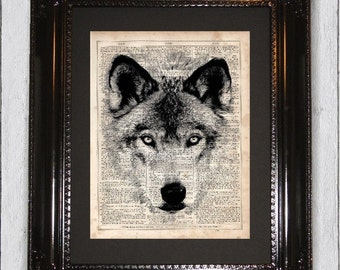 Wolf Animal Print, Dictionary Art Print, Upcycled Book Art, Silhouette, dictionary page Wall Decor, Wall Hanging, Mixed Media Art