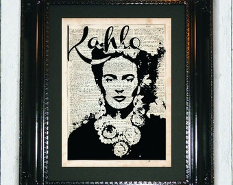 Kahlo, Dictionary Art Print, Frida Kahlo Art, Silhouette, dictionary page, Prints on dictionary paper, Mixed Media Art, Day of The dead