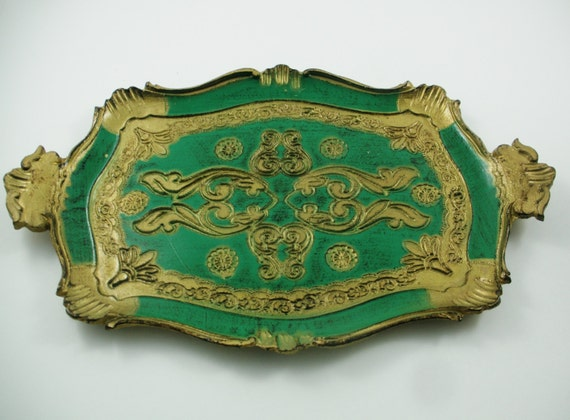 Vintage Italy Florentine Toleware Green Gold Gilt Tray 1950s