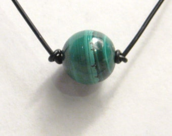 Malachite Bead (8 mm to 10 mm) on a Powercord Necklace N201