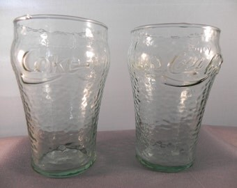 Vintage Glasses 1970's CocaCola Green Tint Dimpled  4 0z.Bell Shape