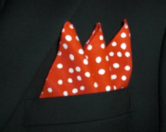 "12"" x 12"" Random Dots on Lipstick Red Pocket Square"