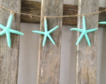Starfish aqua Wall hanging garland turquoise, beach party,  wedding,  porch mantel decoration