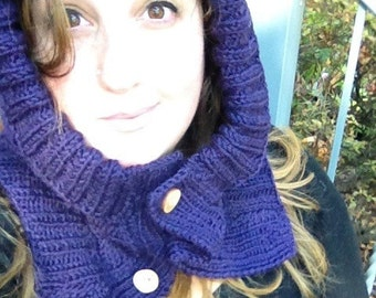 Cable Knit Wool Hood/Scarf- Only 1 available! 100% wool