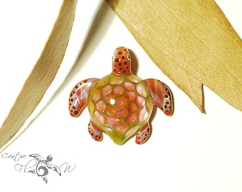Glass Turtle Pendant - Orange Moss Turtle - Glass Art Jewelry - Boro Pendant - Handmade Glass - Blown Glass - Unique & Artist Signed