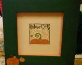 OCTOBER CURLS - Framed Cross Stitch - Wall Hanging Handmade Bent Creek Pumpkin