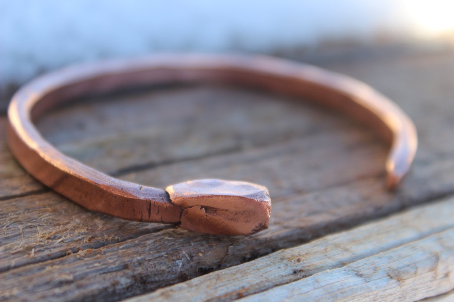 Mens Nail Bracelet Copper Cuff Custom Handmade Raw
