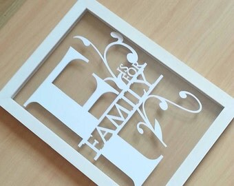 F is for family papercut in an a4 size floating frame