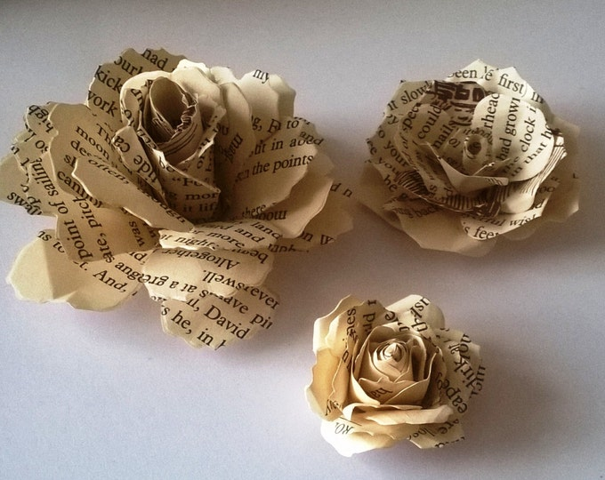 20 Vintage Roses, Book Page Roses, wedding centerpiece, embellishment, Craft project, Wedding decor, Home Decor