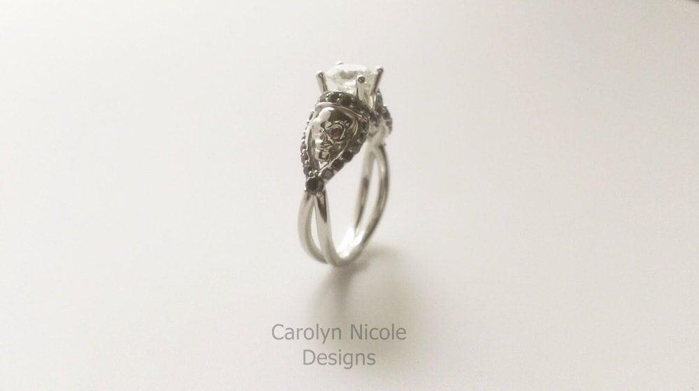 Black Diamond Skull Engagement Ring by CarolynNicoleDesigns