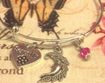 Sweet Serenity Charm Bracelet With Moon & Hot Pink Crystal Bead Adjustable