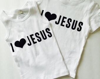 """Baby, toddler, kids """"i love jesus"""" shirt, tank, or onesie"""