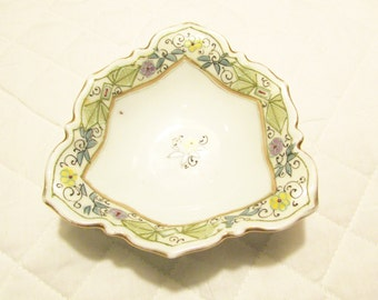 Three-sided Porcelain Candy Dish - Signed Nippon Rising Sun in BLue