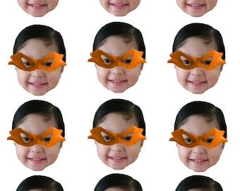 DIY digital Photo cupcake toppers with ninja mask