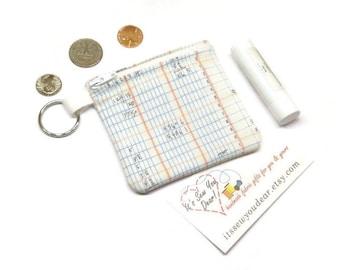 Math notebook ledger fabric coin purse,  math geekery gift, zippered coin pouch, change purse.