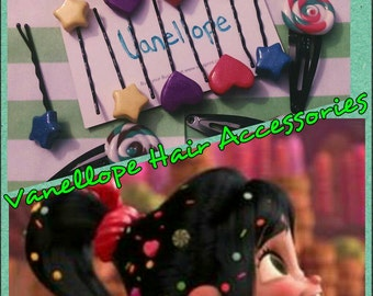 Vanellope Inspired Hair Pins - Wreck it Ralph costume accessories - Vanellope Cosplay hair clips - Cosplay Hair Accessories