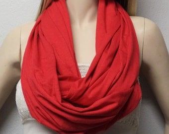 RED Red Fire Engine red Lipstick red Holiday  Infinity Scarf SUPER Soft Jersey Knit