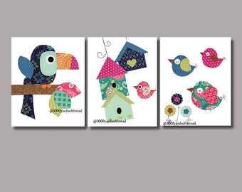 Parrot, birds and birdhouses in a tree Nursery Artwork Print Baby Room Decoration Kids Room Decor Nursery Gifts Under 20 art wall numbers