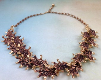 Vintage Gold Tone Choker and Copper Tone,  Faceted Leaves Choker Necklace Exquisite Detail.