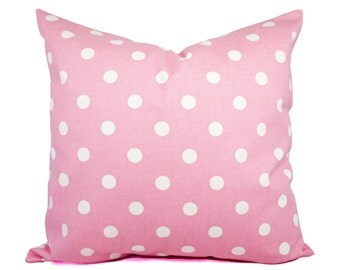 Two Pink Decorative Pillow Covers - Pastel Pink and White Polka Dot Throw Pillows - Polka Dot Pink Pillows - Pale Pink Pillow Covers