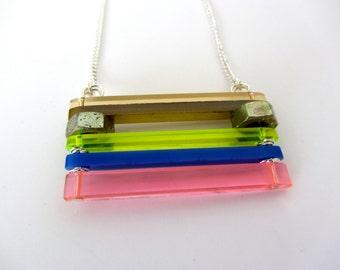 80's neon laser cut acrylic bar necklace